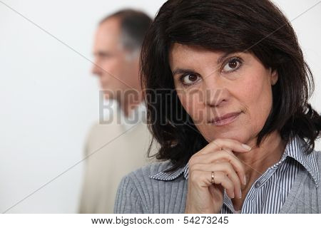 mature woman thinking