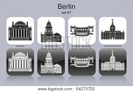 Landmarks of Berlin. Set of monochrome icons. Editable vector illustration.