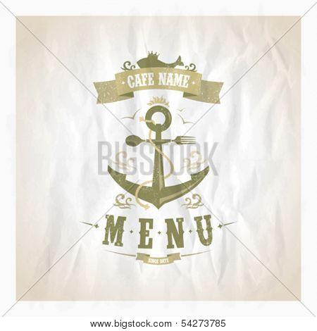 Restaurant seafood menu card. Eps10