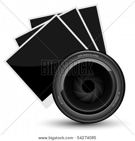 Illustration of camera lens and a photo on white background. Vector.