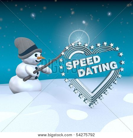 Snowman With Magic Wand And Speed Dating Label