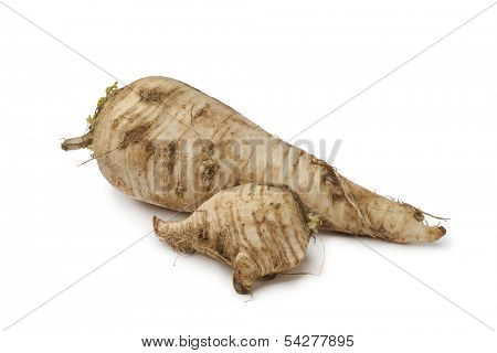 Fresh homegrown parsnip on white background