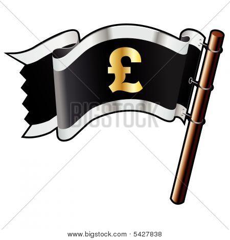 British Pound Icon On Pirate Flag