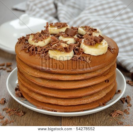 Chocolate Pancakes With Bananas