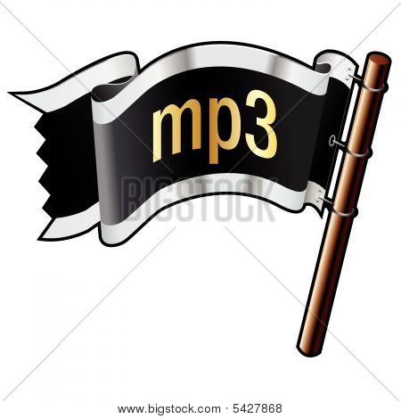 Mp3 Icon On Pirate Flag