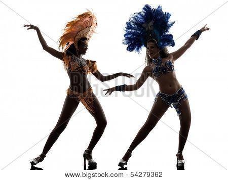 two women samba dancer dancing silhouette on white background