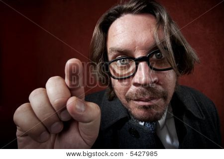 Worried Man With Glasses Making A Funny Face