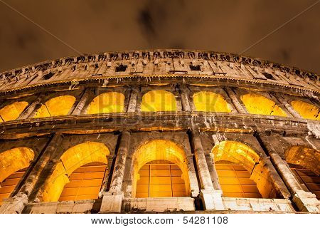 Colosseum in Rome by night, close up, architecture details