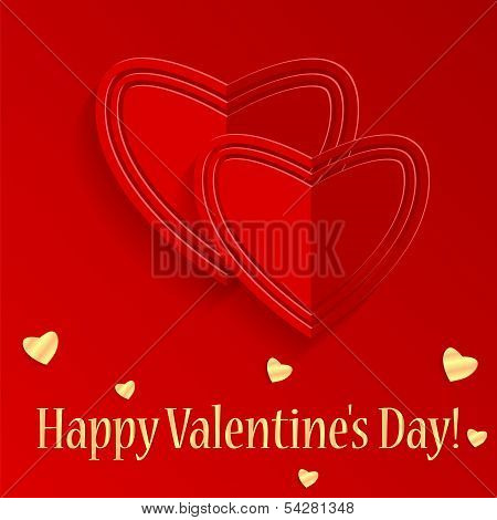 Background Valentine's Day.red And Gold Hearts On A Red Background.felicitation.vector