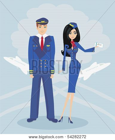 A Pilot And Stewardess In Uniform