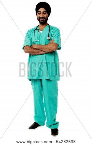 Friendly Male Doctor, Full Length Portrait.