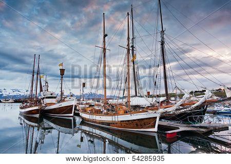 North sailing schooners, original icelandic sailing boat. Husavik harbour, Iceland.