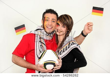 Couple supporting the German football team