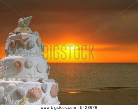 Wedding On The Beach Cake Invitation Sunset