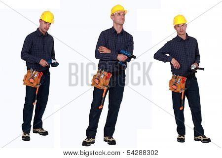 Multiple shit of carpenter holding various tools