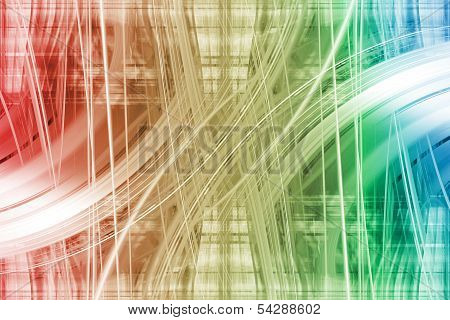 White Light Trails On A Colourful Background