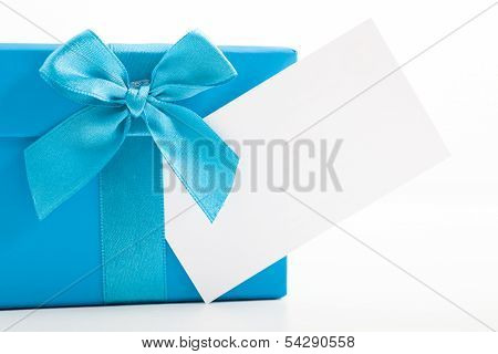 Decorative Blue Christmas Gift With A Blank Tag