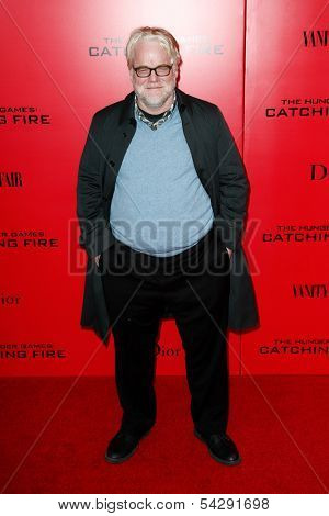 NEW YORK-NOV 20; Actor Phillip Seymour Hoffman attends the 'Hunger Games: Catching Fire' premiere at AMC Lincoln Square Theater on November 20, 2013 in New York City.