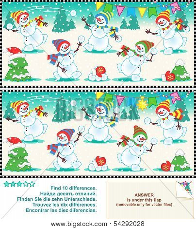 Find the differences picture puzzle - christmas snowmen