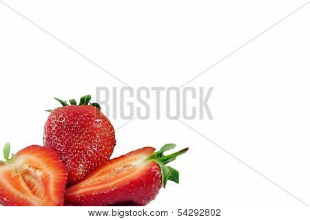 Strawberries With Leaves. Isolated