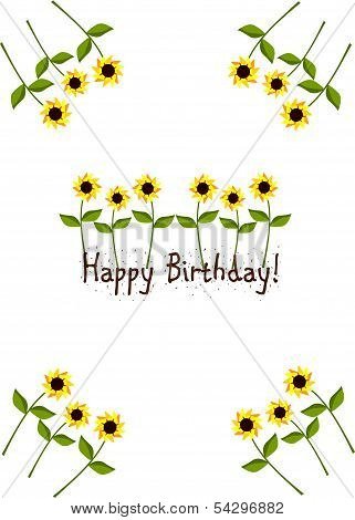 Birthday Card With Sunflowers