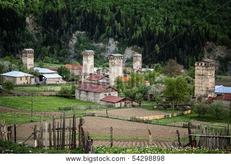 Famous Towers in Mestia, Svaneti, Georgia