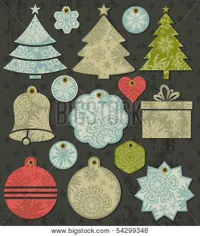 Vintage Christmas Labels Over Grunge Brown Background, Vector