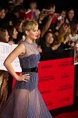 LOS ANGELES, CA - NOVEMBER 18: Actress Jennifer Lawrence arrives at the premiere of The Hunger Games