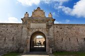 stock photo of mola  - Menorca La Mola Castle fortress door in Mahon at Balearic islands - JPG