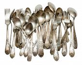 foto of tablespoon  - Aged vintage silver cutlery  - JPG