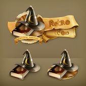 foto of warlock  - Wizard hat and old book vector icon - JPG