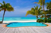 pic of beach-house  - Pool on a tropical beach  - JPG