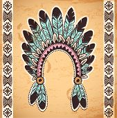 picture of headband  - Tribal native American feather headband on vintage background - JPG