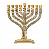 stock photo of menorah  - jewish menorah isolated on a white background - JPG
