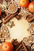 foto of recipe card  - Blank note for recipes of christmas cookies or christmas greeting card - JPG