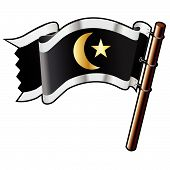Crescent And Star On Pirate Flag