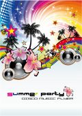 image of beach party  - Colorful Summer Tropical Flower Musical Background for flyers - JPG