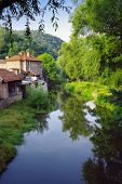 houses on Tryavna River, Bulgaria