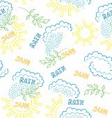 Vector Seamless With Hand Drawn  Elements Of Weather: Rain And Sun