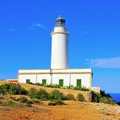 stock photo of mola  - View of beacon Far de la Mola in Formentera - JPG