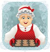 stock photo of generous  - Vector illustration of a happy granny holding a freshly baked cookies tray. File type: vector EPS AI8 compatible. 