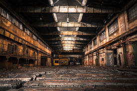 stock photo of roof-light  - Old Abandoned Industrial Interior With Bright Light - JPG