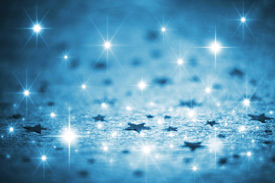 stock photo of star shape  - Abstract image of blue winter background with stars - JPG