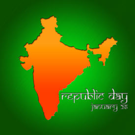 image of asoka  - Graphic design Republic Day in India related in shape of country silhouette - JPG
