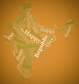 stock photo of asoka  - Tag or word cloud Republic Day related in shape of India - JPG