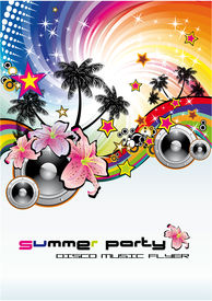 picture of beach party  - Colorful Summer Tropical Flower Musical Background for flyers - JPG