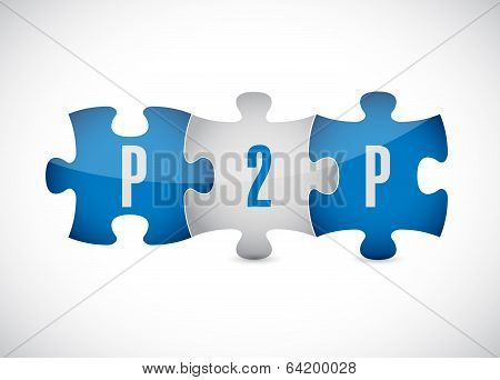 P2P Puzzle Pieces Illustration Design