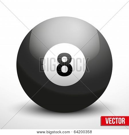 black ball sphere for billiards vector