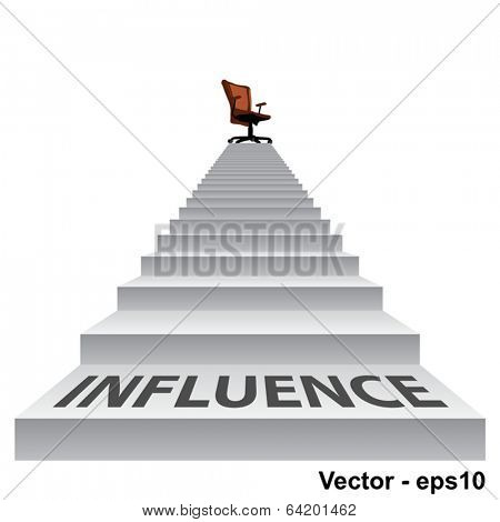 Vector concept conceptual 3d influence stair climbing to a leader,chief or promotion chair on top isolated white background