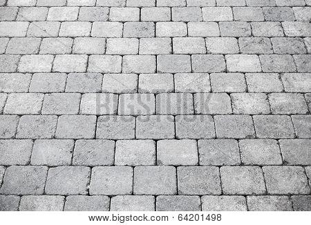 Gray Brick Pavement Perspective, Background Photo Texture